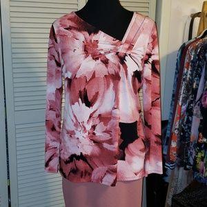 Dana Buchman rose pink abstract top